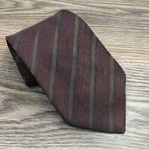 Hart Schaffner Marx Maroon & Olive Stripe Tie